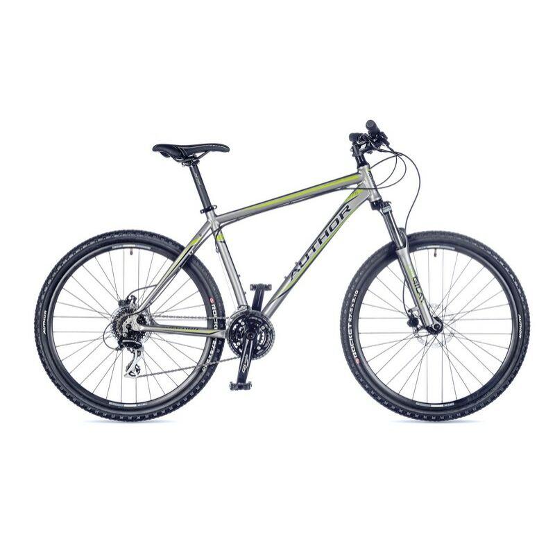 """Solution férfi MTB 27,5"""" kerékpár, matt ezüst/zöld - AUTHOR"""