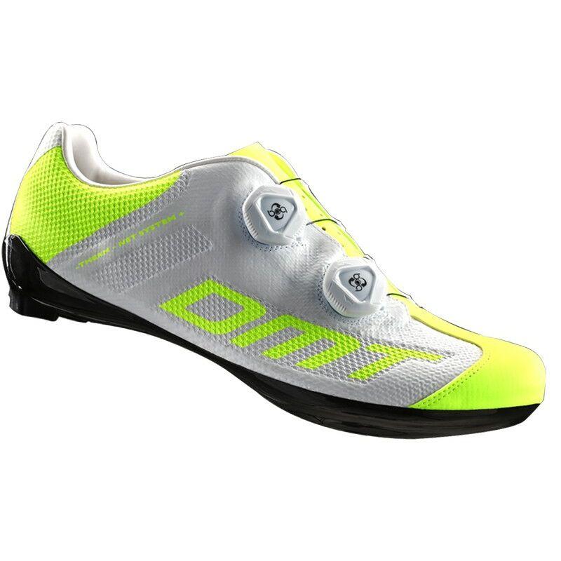 R1 SUMMER országúti kerékpáros cipő nyári, fehér/fluorit sárga - DMT